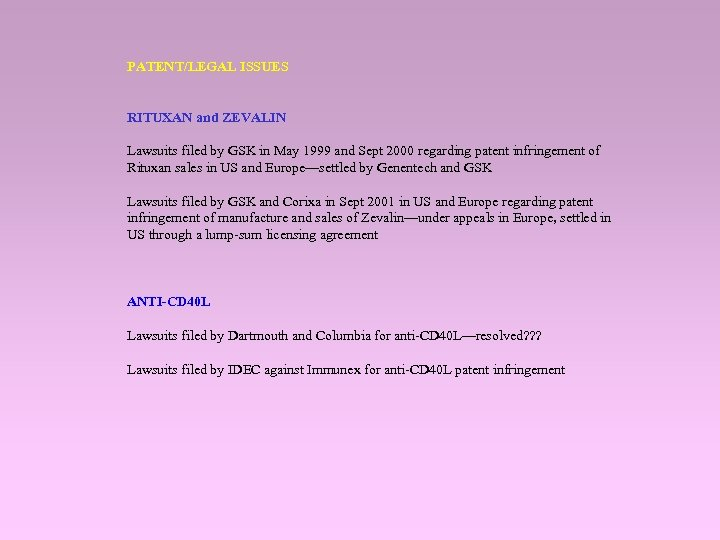 PATENT/LEGAL ISSUES RITUXAN and ZEVALIN Lawsuits filed by GSK in May 1999 and Sept