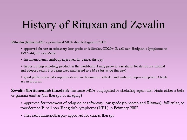 History of Rituxan and Zevalin Rituxan (Rituximab): a primatized MCA directed against CD 20