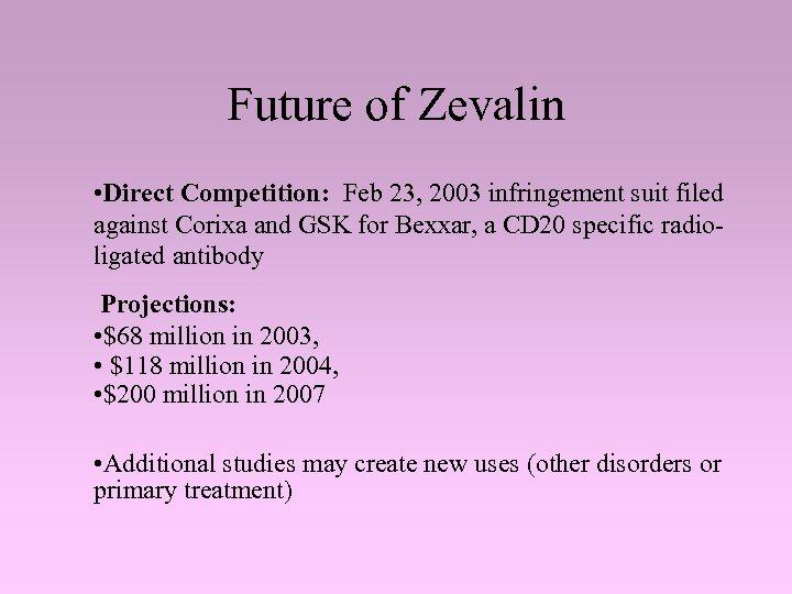 Future of Zevalin • Direct Competition: Feb 23, 2003 infringement suit filed against Corixa
