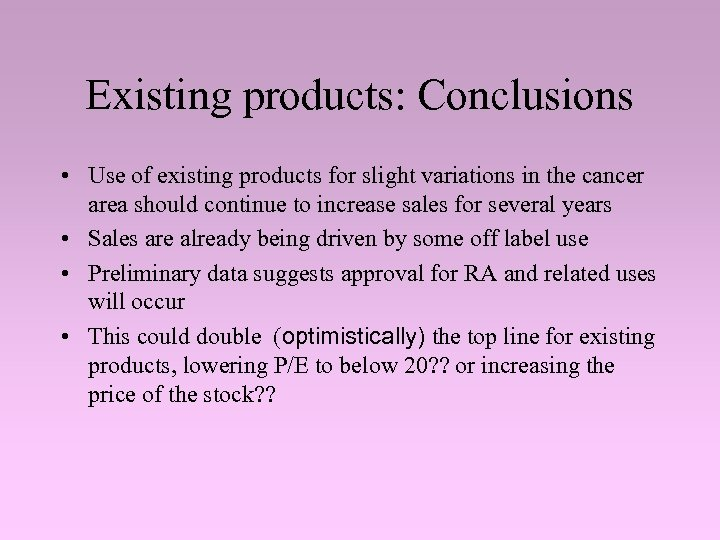 Existing products: Conclusions • Use of existing products for slight variations in the cancer