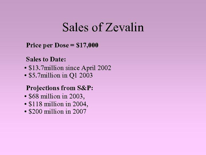 Sales of Zevalin Price per Dose = $17, 000 Sales to Date: • $13.