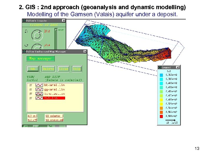 2. GIS : 2 nd approach (geoanalysis and dynamic modelling) Modelling of the Gamsen