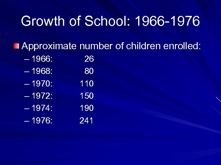 Growth of School: 1966 -1976 Approximate number of children enrolled: – 1966: – 1968:
