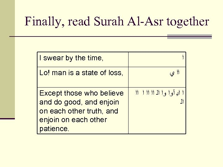 Finally, read Surah Al-Asr together I swear by the time, ﺍ Lo! man is