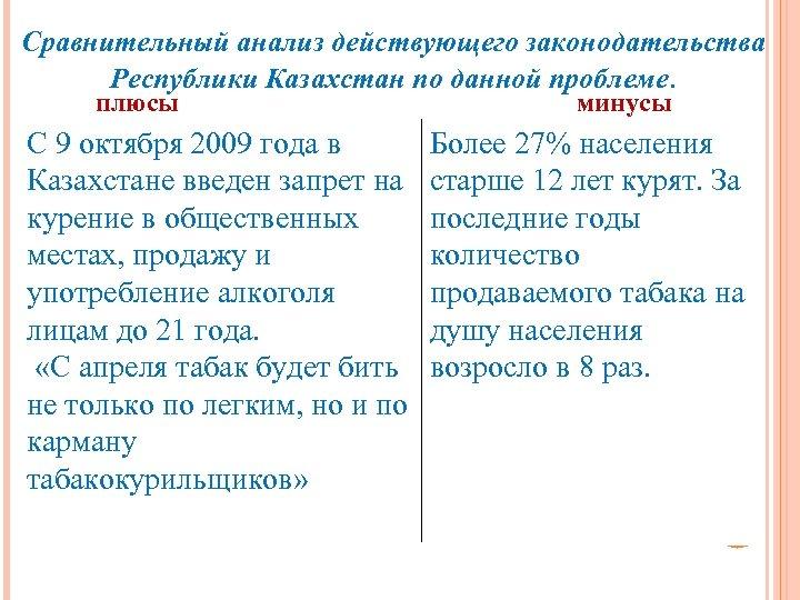 Сравнительный анализ действующего законодательства Республики Казахстан по данной проблеме. плюсы С 9 октября 2009