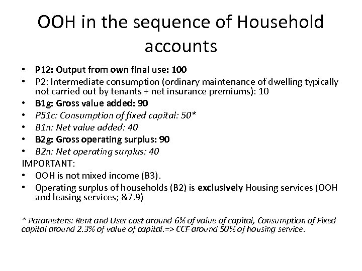 OOH in the sequence of Household accounts • P 12: Output from own final