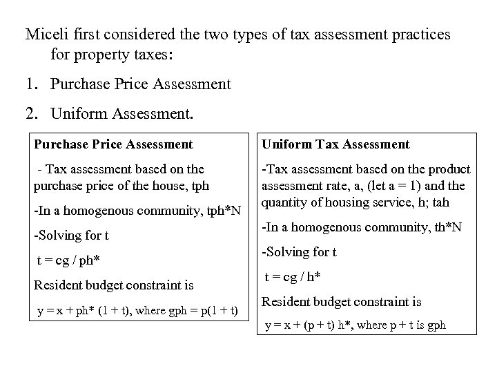 Miceli first considered the two types of tax assessment practices for property taxes: 1.