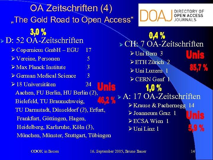 """OA Zeitschriften (4) """"The Gold Road to Open Access"""" Ø D: 52 OA-Zeitschriften Ø"""