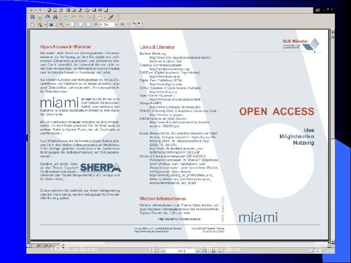 "OA Zeitschriften (13) ""The Gold Road to Open Access"" ODOK in Bozen 16. September"