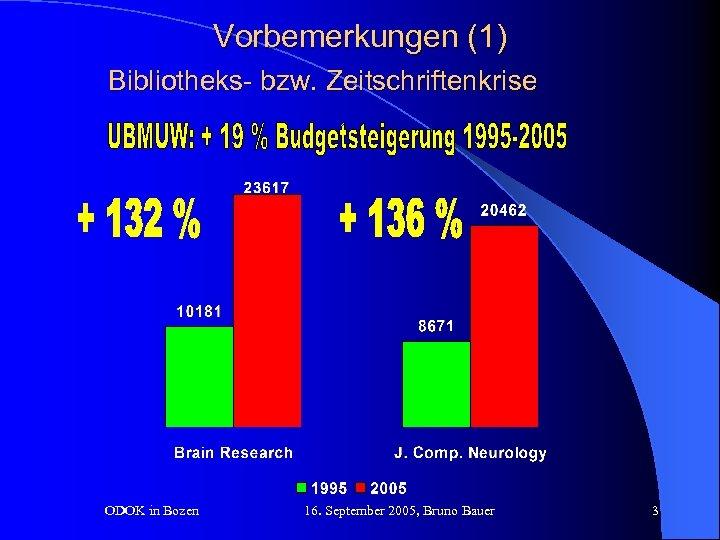Vorbemerkungen (1) Bibliotheks- bzw. Zeitschriftenkrise ODOK in Bozen 16. September 2005, Bruno Bauer 3