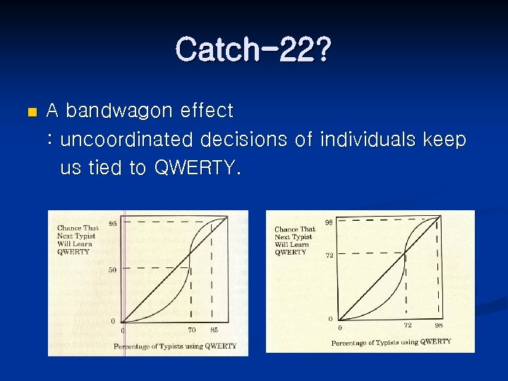 Catch-22? n A bandwagon effect : uncoordinated decisions of individuals keep us tied to