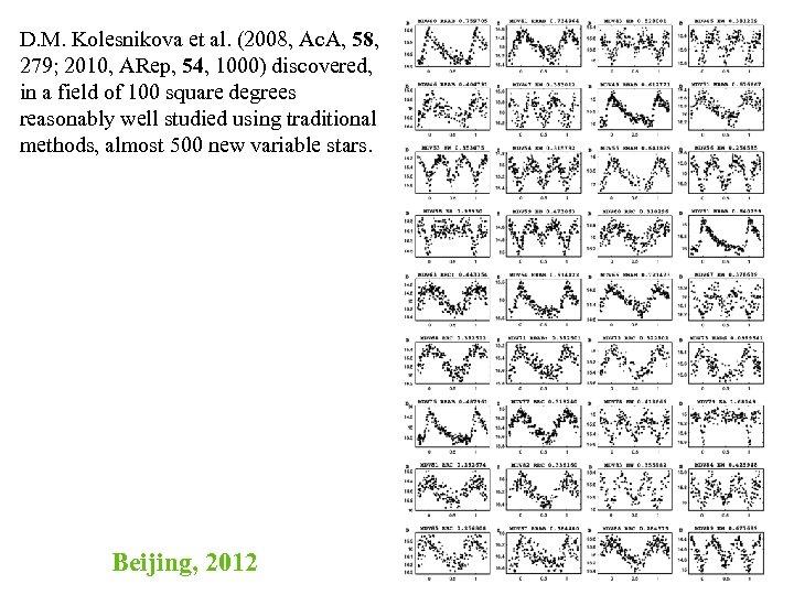 D. M. Kolesnikova et al. (2008, Ac. A, 58, 279; 2010, ARep, 54, 1000)
