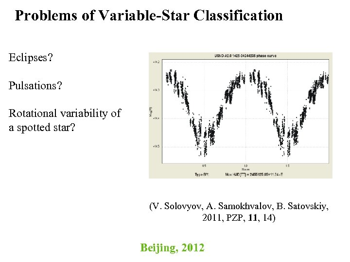 Problems of Variable-Star Classification Eclipses? Pulsations? Rotational variability of a spotted star? (V. Solovyov,