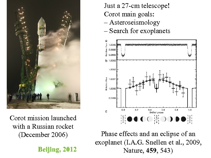 Just a 27 -cm telescope! Corot main goals: – Asteroseismology – Search for exoplanets