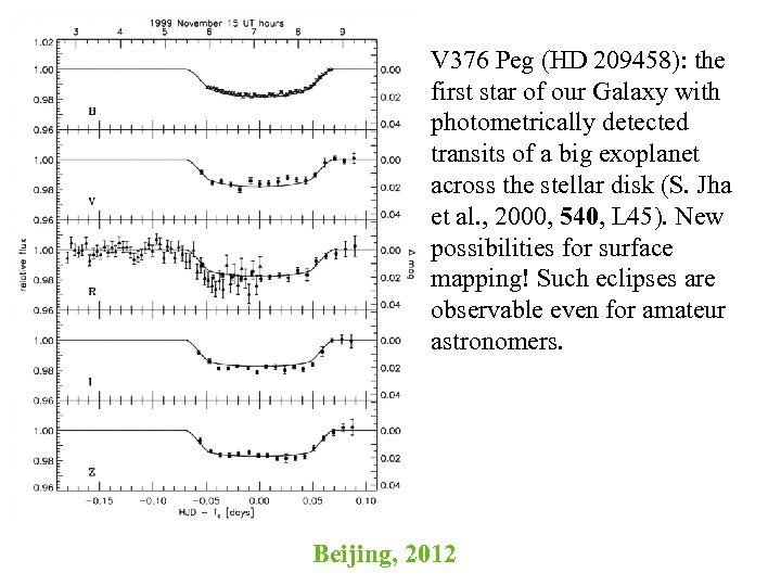 V 376 Peg (HD 209458): the first star of our Galaxy with photometrically detected