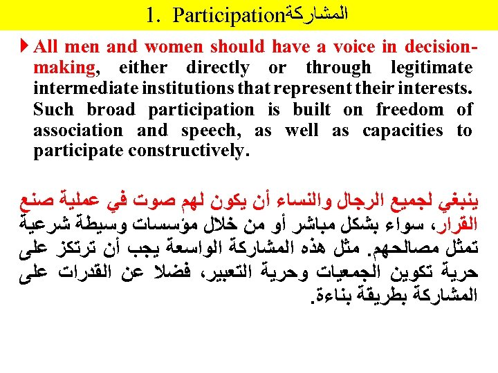 1. Participation ﺍﻟﻤﺸﺎﺭﻛﺔ All men and women should have a voice in decisionmaking, either