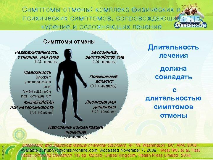 Симптомы отмены: комплекс физических и психических симптомов, сопровождающих курение и осложняющих лечение Симптомы отмены