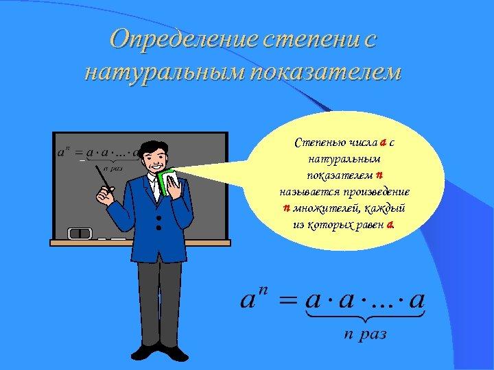 Определение степени с натуральным показателем Степенью числа a с натуральным показателем n называется произведение