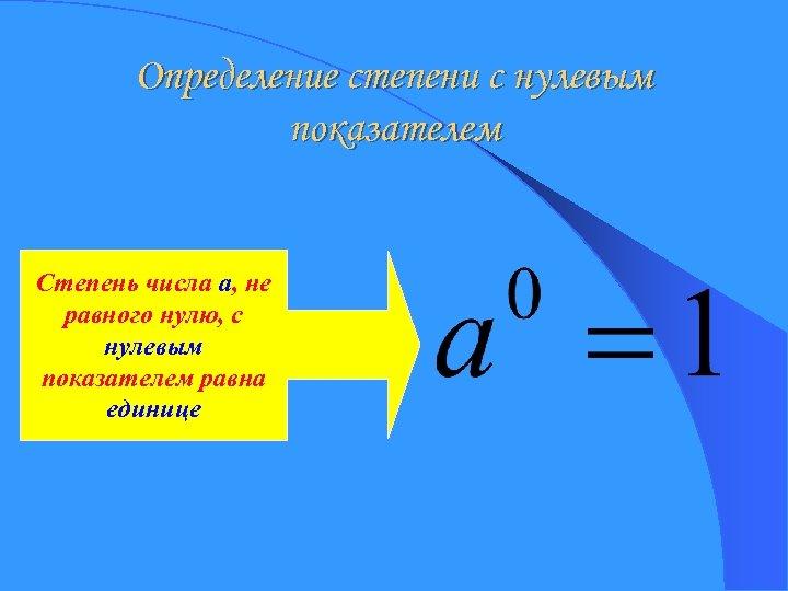 Определение степени с нулевым показателем Степень числа a, не равного нулю, с нулевым показателем