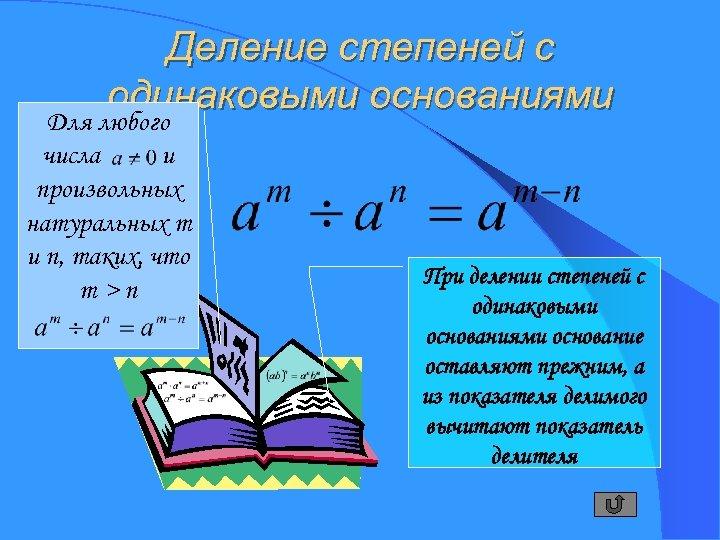 Деление степеней с одинаковыми основаниями Для любого числа и произвольных натуральных m и n,