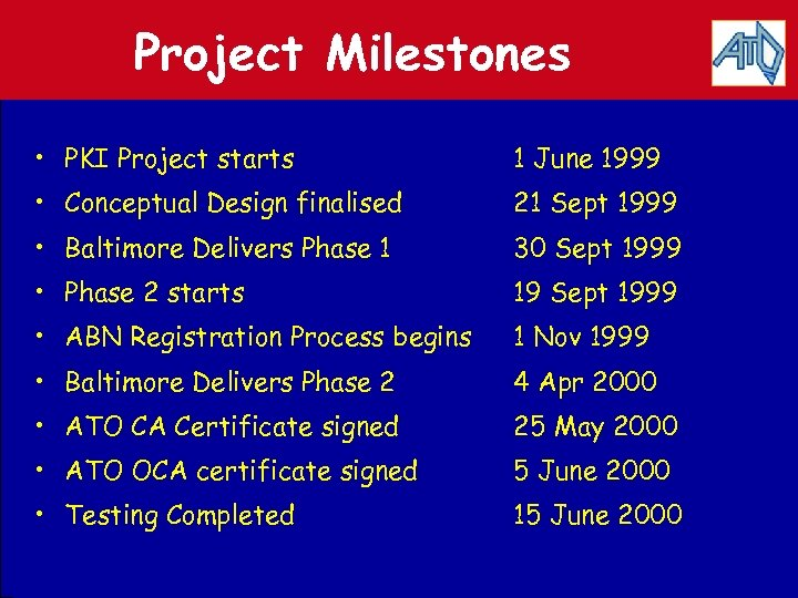 Project Milestones • PKI Project starts 1 June 1999 • Conceptual Design finalised 21