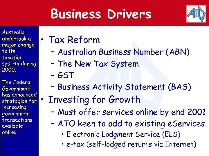 Business Drivers Australia undertook a major change to its taxation system during 2000. The