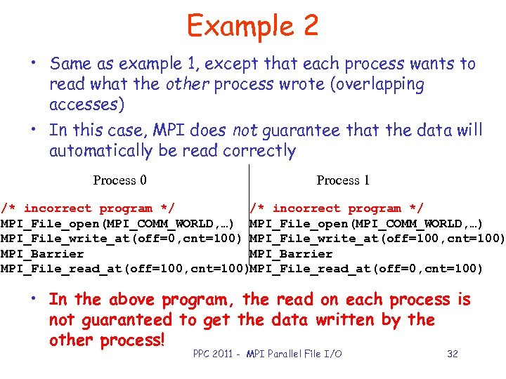 Example 2 • Same as example 1, except that each process wants to read