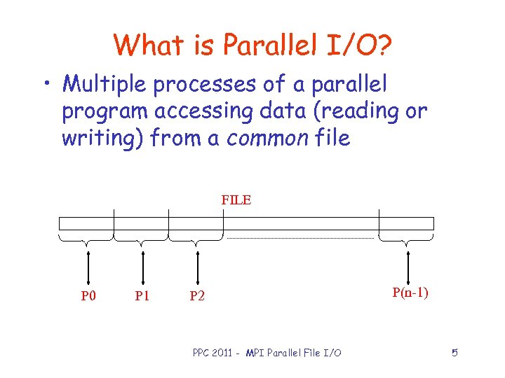 What is Parallel I/O? • Multiple processes of a parallel program accessing data (reading