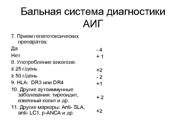 Бальная система диагностики АИГ 7. Прием гепатотоксических препаратов: Да Нет 8. Употребление алкоголя: ≤
