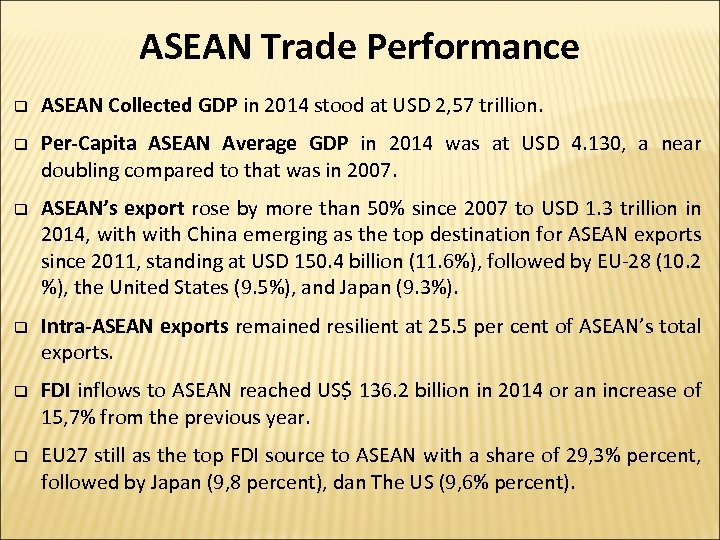 ASEAN Trade Performance q ASEAN Collected GDP in 2014 stood at USD 2, 57