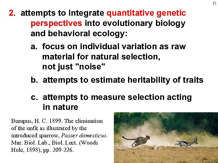 51 2. attempts to integrate quantitative genetic perspectives into evolutionary biology and behavioral ecology: