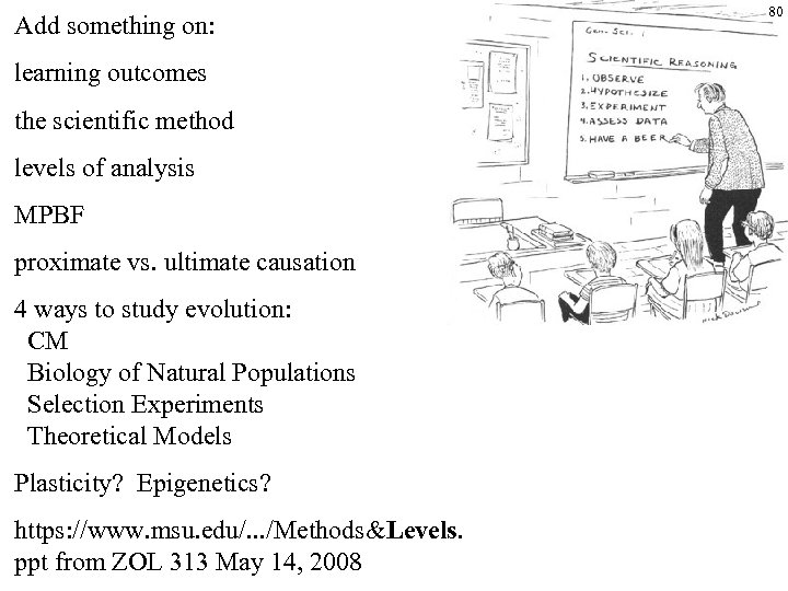 Add something on: learning outcomes the scientific method levels of analysis MPBF proximate vs.
