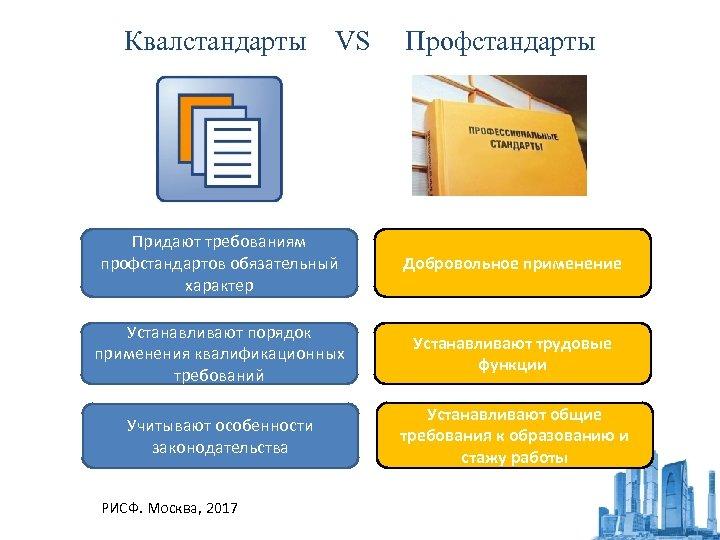 Квалстандарты VS Профстандарты Придают требованиям профстандартов обязательный характер Добровольное применение Устанавливают порядок применения квалификационных