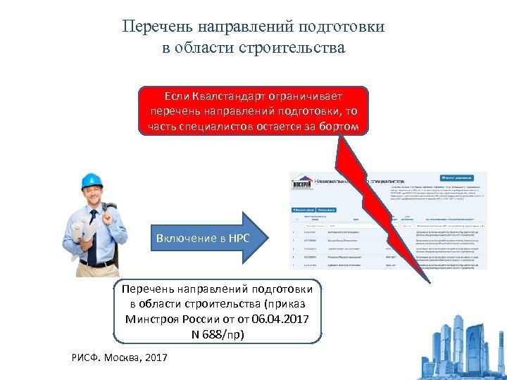 Перечень направлений подготовки в области строительства Если Квалстандарт ограничивает перечень направлений подготовки, то часть