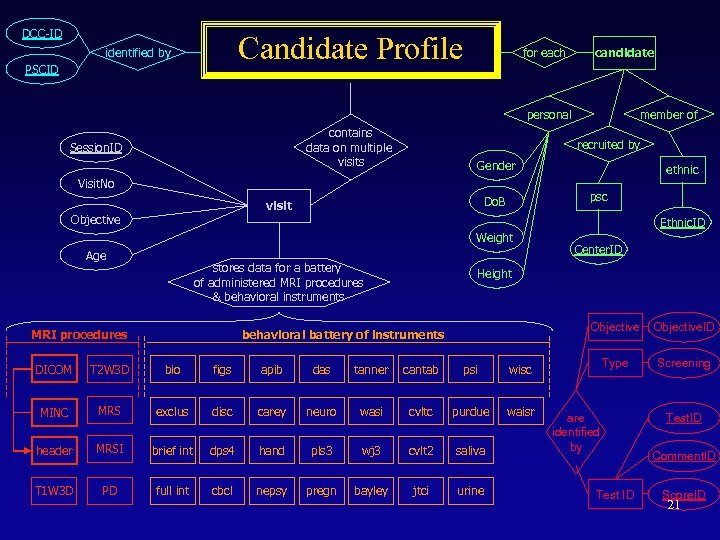 DCC-ID Candidate Profile identified by PSCID for each candidate personal contains data on multiple