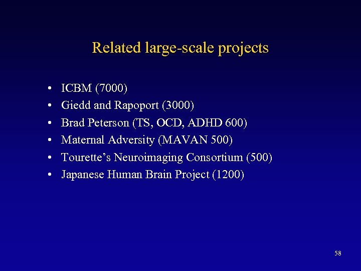 Related large-scale projects • • • ICBM (7000) Giedd and Rapoport (3000) Brad Peterson