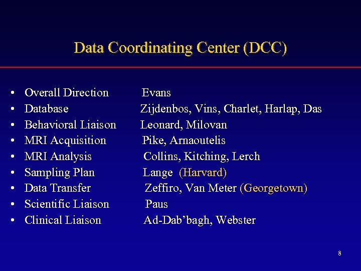 Data Coordinating Center (DCC) • • • Overall Direction Database Behavioral Liaison MRI Acquisition