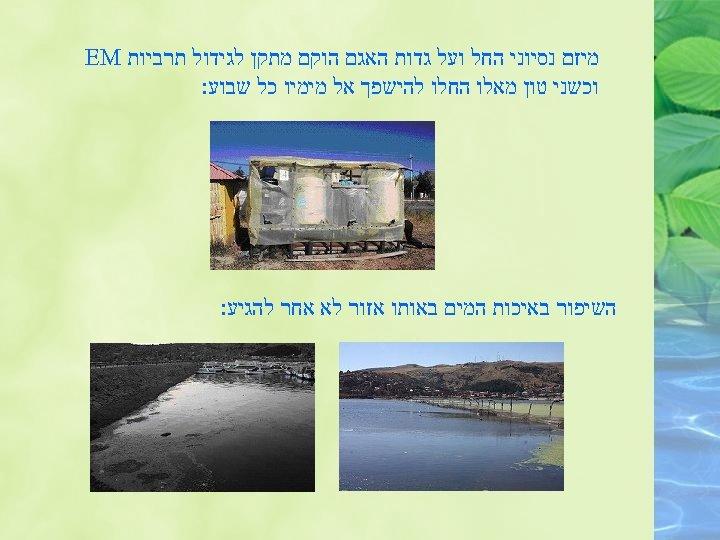 מיזם נסיוני החל ועל גדות האגם הוקם מתקן לגידול תרביות EM וכשני טון