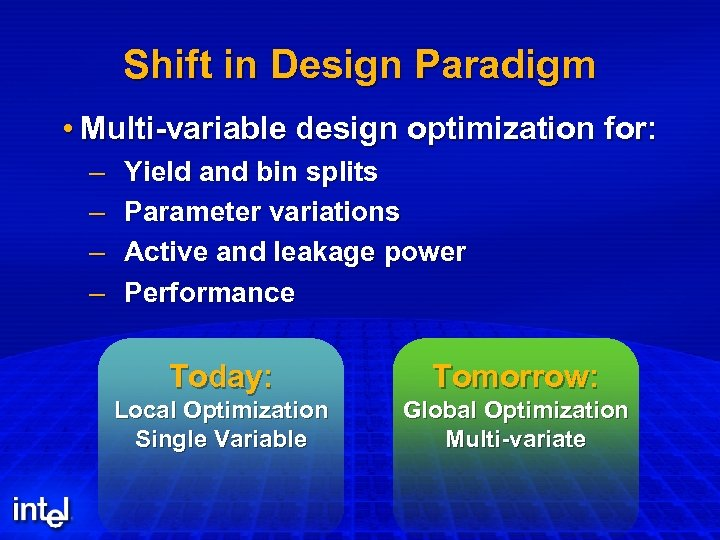 Shift in Design Paradigm • Multi-variable design optimization for: – – Yield and bin