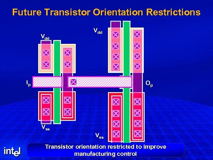 Future Transistor Orientation Restrictions Vdd Ip Op Op Vss Transistor orientation restricted to improve