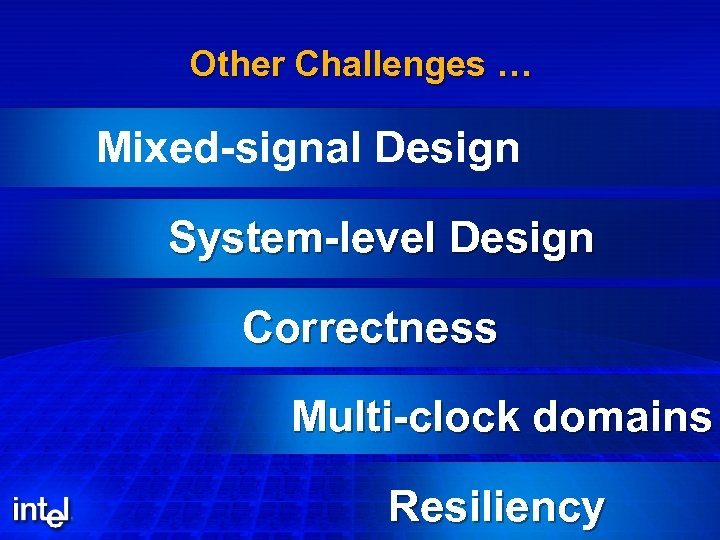 Other Challenges … Mixed-signal Design System-level Design Correctness Multi-clock domains Resiliency