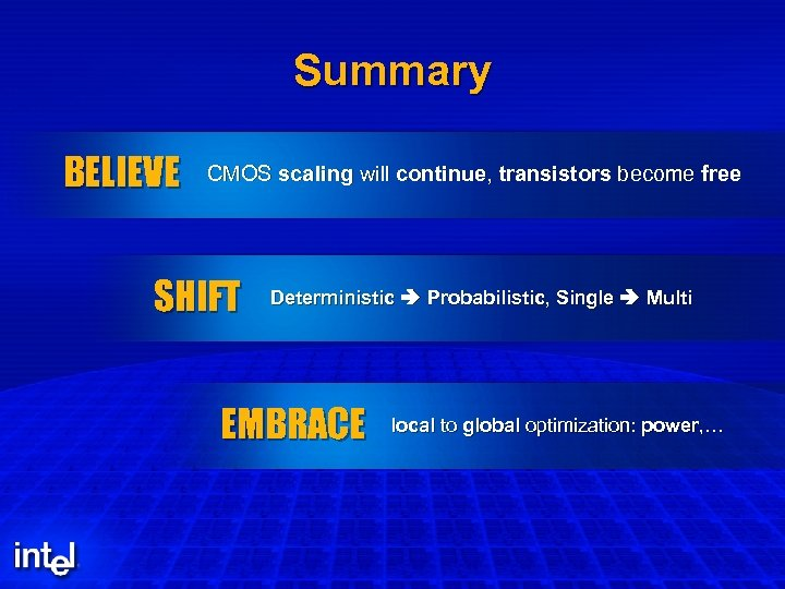 Summary BELIEVE CMOS scaling will continue, transistors become free SHIFT Deterministic Probabilistic, Single Multi