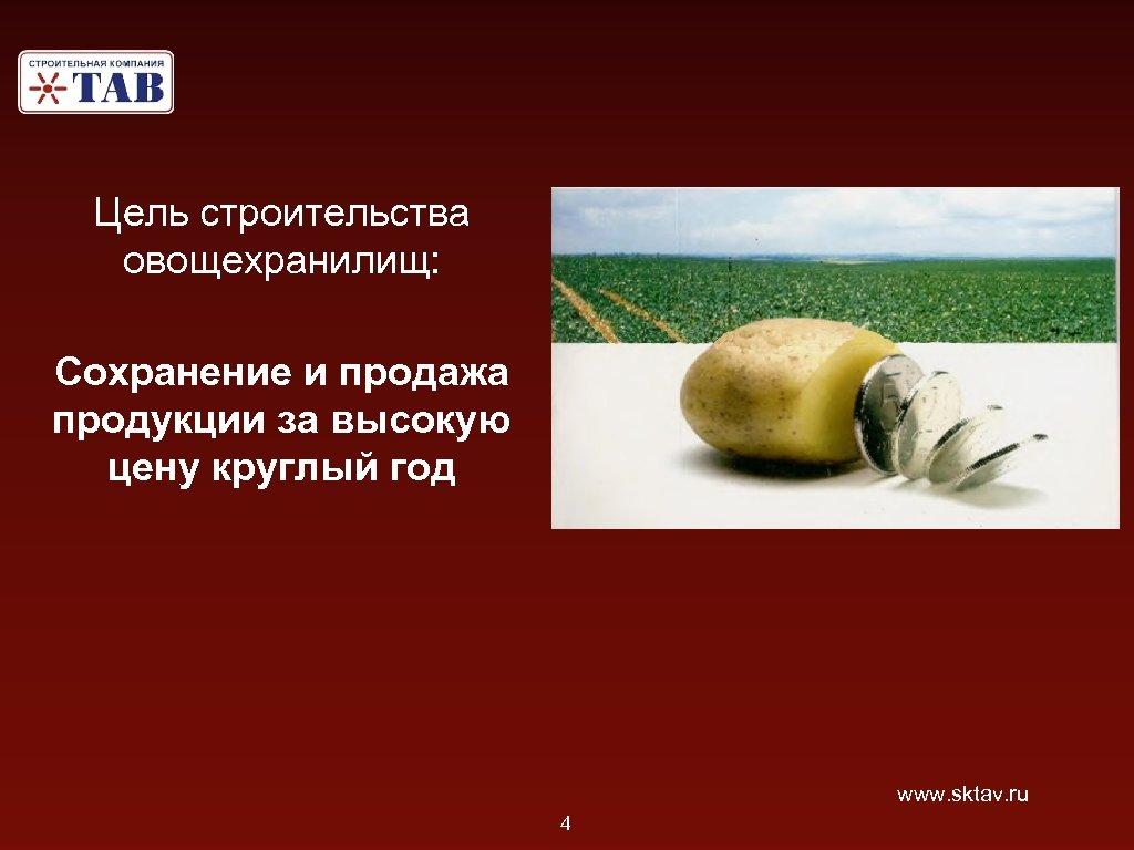 Цель строительства овощехранилищ: Сохранение и продажа продукции за высокую цену круглый год www. sktav.