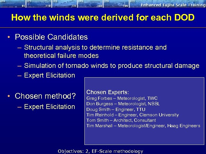 How the winds were derived for each DOD • Possible Candidates – Structural analysis