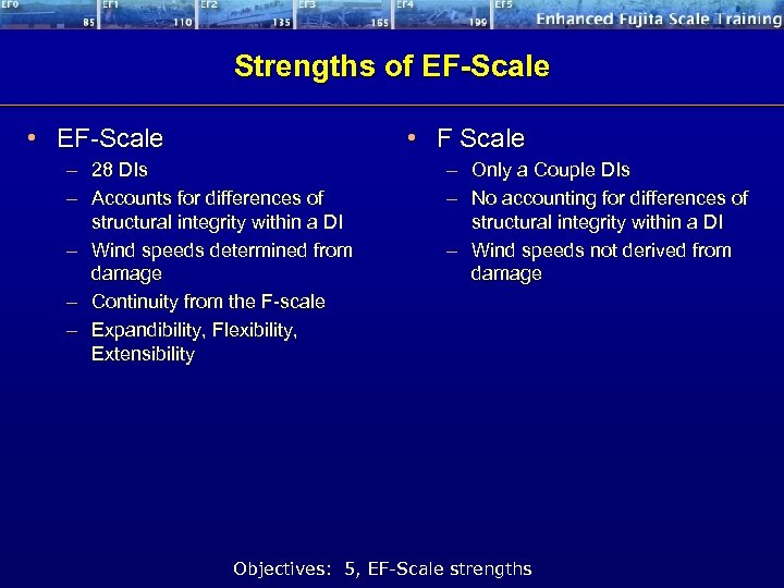 Strengths of EF-Scale • EF-Scale • F Scale – 28 DIs – Accounts for