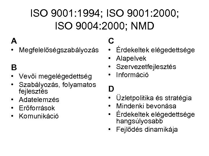 ISO 9001: 1994; ISO 9001: 2000; ISO 9004: 2000; NMD A C • Megfelelőségszabályozás