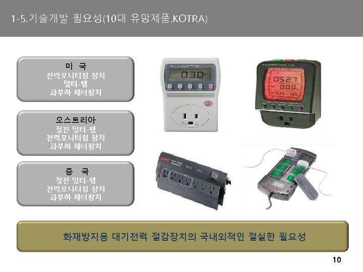 1 -5. 기술개발 필요성(10대 유망제품. KOTRA) 미 국 전력모니터링 장치 멀티-탭 과부하 제어장치 오스트리아