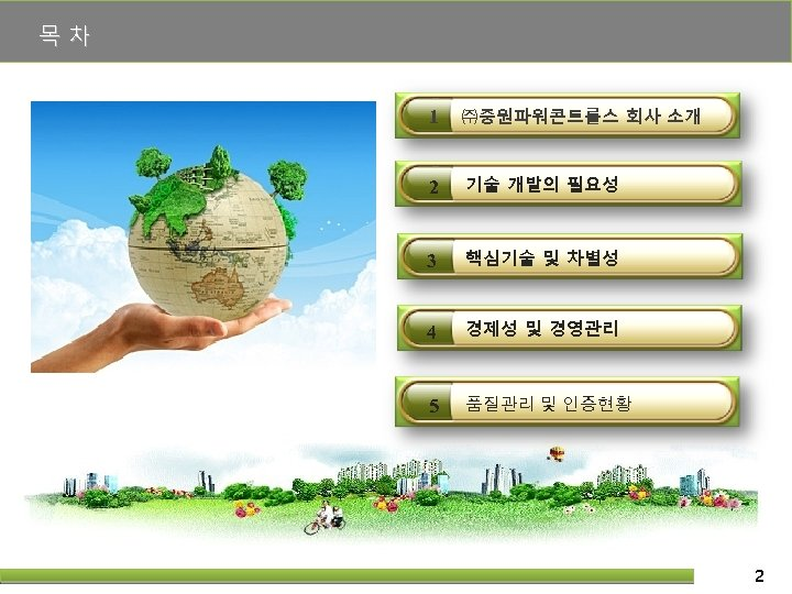 목차 1 ㈜중원파워콘트롤스 회사 소개 2 기술 개발의 필요성 3 핵심기술 및 차별성 4