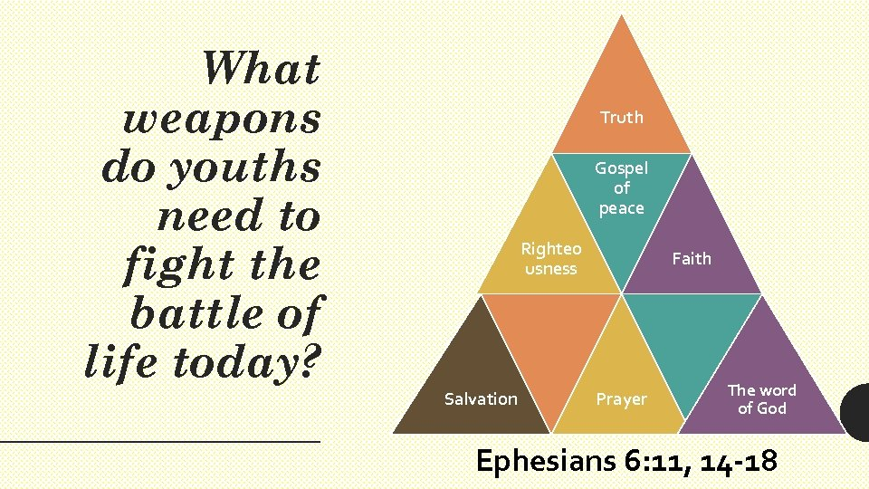 What weapons do youths need to fight the battle of life today? Truth Gospel