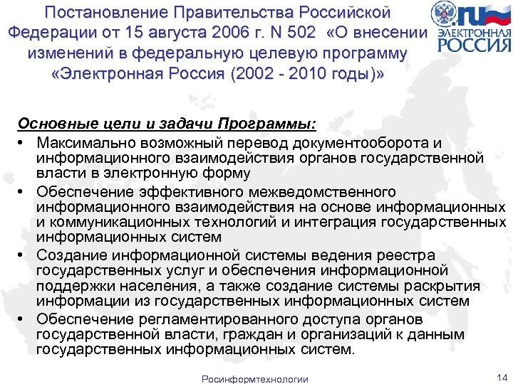 Постановление Правительства Российской Федерации от 15 августа 2006 г. N 502 «О внесении изменений